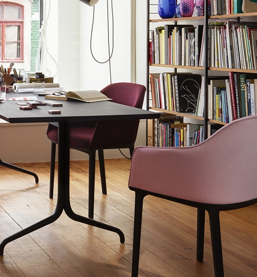 mobilier vitra chaise softshell rose pâle