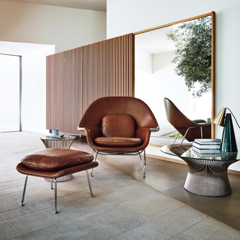 Visuel d'un intérieur avec le fauteuil Womb Chair de Eero Saarinen de chez Knoll